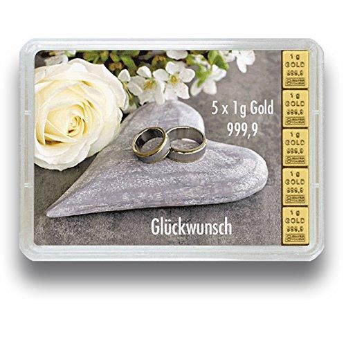 Preisvergleich Produktbild 3g oder 5g Goldbarren in der Motivbox Hochzeit - Geschenkidee zur Hochzeit - Wählbar zwischen 3g oder 5g 999.9 Feingold 5g Geschenkbarren