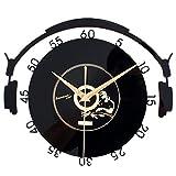 Homyl Vintage Schwarz CD-Schallplatte Uhr Wanduhr Küchenuhr Ornament für Haus Büro - 1