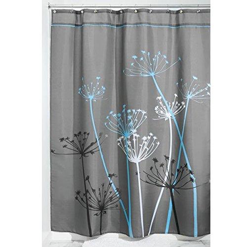 mDesign Duschvorhang Anti-Schimmel - Dusch- & Badewannenvorhang mit Pusteblumen-Motiv - Duschvorhang wasserabweisend - 12 verstärkten Löchern für einfache Aufhängung - grau/blau
