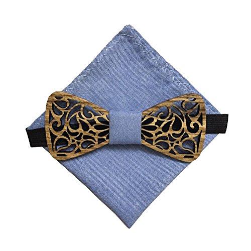 [Garanzia a vita] Papillon in legno fatto a mano con tessuto arabesco Ecume blu e fazzoletto da taschino