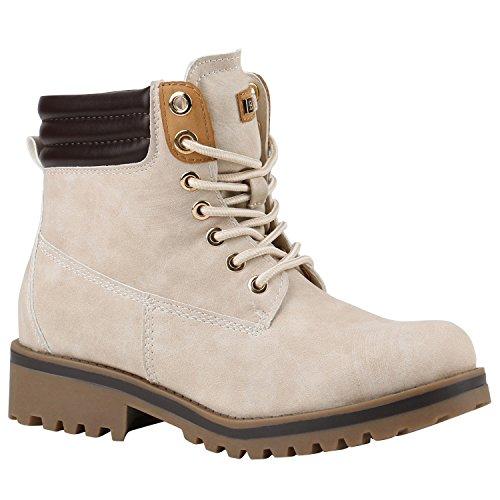 Stiefelparadies Damen Schuhe Warm Gefütterte Outdoor Stiefeletten Worker Boots 144381 Creme Bexhill 37 Flandell