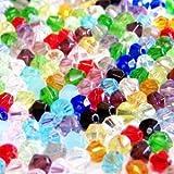 100Stück 6mm Kristall Glas, Doppelkegel,–gemischt–A2619