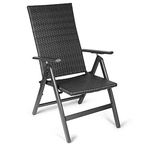 Vanage Polyrattan Gartenstuhl in schwarz -  Alu Klappstuhl - Hochlehner - Klappsessel - Gartenmöbel - Relax-Sessel für Garten, Terrasse und Balkon geeignet - Schwarz Klapp-gartenmöbel