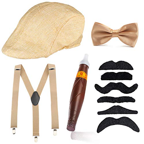 Beefunny Herren Roaring 1920er Set Gangster Kostümzubehör Set-Y-Back Hosenträger & Pre gebundene Fliege, Krawatte, Spielzeug Zigarre & falschen Schnurrbart (Champagner)