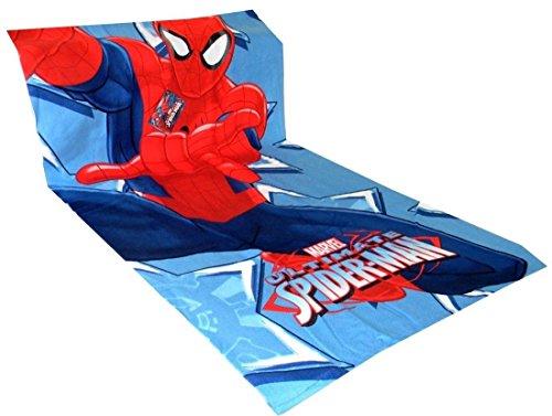 Telo mare bambini in spugna e microfibra cartoni disney spider man frozen minnie (spider man azzurro in spugna)