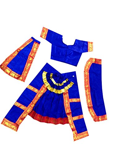 Fancy Steps Original Double Fan Classical Bharatanatya Dance Fancy Dress Costumes, 14 to 16 Years, Blue