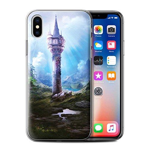 Officiel Elena Dudina Coque / Etui Gel TPU pour Apple iPhone X/10 / Oublié Temple Design / Fantaisie Paysage Collection La Magie Tour