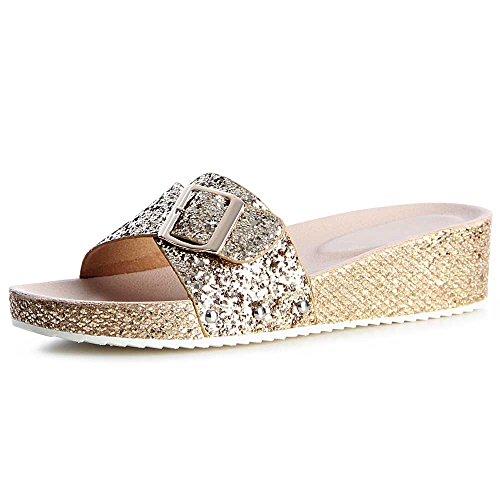 Damen Glitzer Pantoletten Sandalen Keilabsatz 1166 Gold