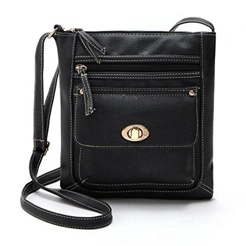 Byste nuovo donna borse del messaggero più tasche piccolo borsetta casuale borse a tracolla crossbody borse spalla messenger borse (nero)