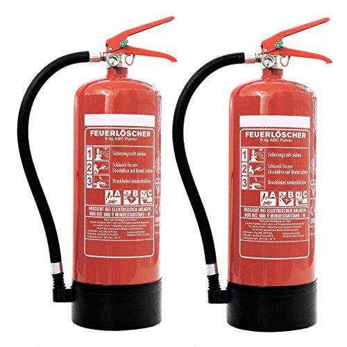 fettfeuerloescher Feuerlöscher 2X 6kg ABC-Pulverlöscher mit Manometer EN 3 inkl. ANDRIS Prüfnachweis mit Jahresmarke &. ISO-Symbolschild
