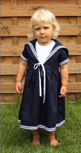 Matrosenkleid in blau für Kinder klassischer Stil von Modas Größe (Matrose Mädchen Kleinkind Kostüm)