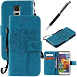 GrandEver Samsung Galaxy S5 / S5 Neo Flip Case PU Leather Wallet Bookstyle Cover Tree Cat Butterfly Pattern Solid Color with Stand Function Credit Card Slots Magnet Closure Protective Shell - Blue