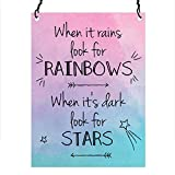 Dorothy Spring When It Rains Look For Rainbows When it's Dark Look For Stars Inspirational Quote Wall Metal Small Plaque Sign Size 4x3 inch