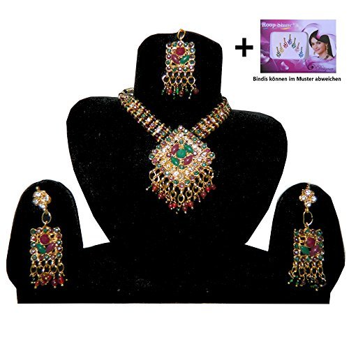 Set Bollywood DIAMOND rosso-verde-dorato indiano Set Bigiotteria