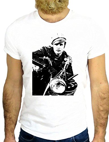 T SHIRT Z0196 MARLOON COOL ROCK ACTOR BRANDO NICE USA BIKER USA HOLLYWOOD GGG24 BIANCA - WHITE
