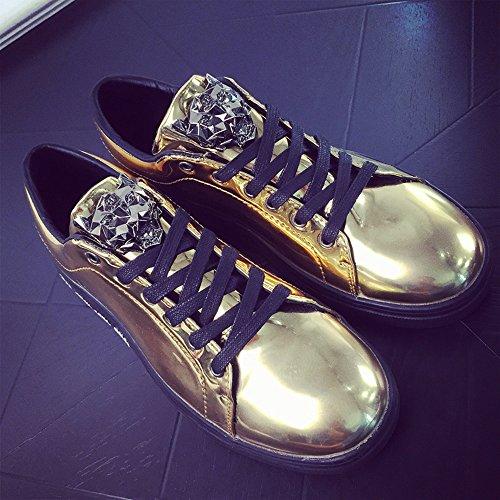 Raven shop Patent Turnschuhe Herren Flats Sneaker Sportschuhe Lace-up Leopard Freizeit Schuhe 39-44 Schwarz Blau Gold Silber Gold