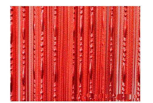 HONG Quaste Perlen Vorhang Kristall Perlen Design mit Gewinde String Tür Vorhang Fenster für Raumteiler Trennwand (100 cm x 200 cm 2 Stück),Rot