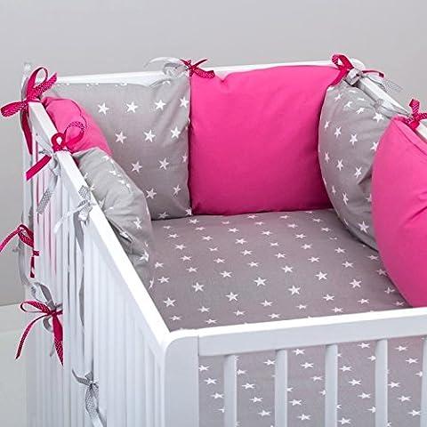 Set de 10 piezas de ropa de cama de bebé: protector de cuna 6 unidades, Edredón para bebé tamaño grande, con funda de edredón, funda de almohada, diseño de estrellas, color fucsia oreiller., color