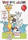 XXL Maxi Geburtstagskarte von uns allen Lustige Tiere mit Glimmer