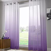 alan symonds cortina de gasa transparente con ojales ancho 147 cm de ancho - Cortinas Moradas