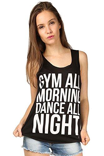 Damen Fitnessstudio Alle Morgen Tanz Die Ganze Nacht Burnout Bedruckt Borte Damen Sport, Joggen Top T-shirt Übergrößen 8-26 Schwarz