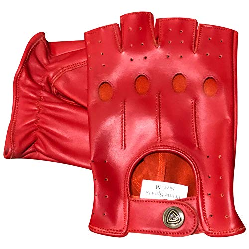 Prime 309 Fingerlose Handschuhe, echtes Leder, für Motorradfahren, Radfahren, Halbfinger, 1 Stück S rot Echt-leder-handschuh, Handschuhe