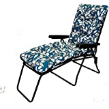 Garden Patio Sun Lounger Multi Position Chair + Footrest Ashley Blue Cushion