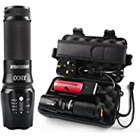 Torches LED Super Bright,Shadowhawk X800 LED Military Grade Torch with Rechargeable Battery Tactical Flashlight kit,1300 Lumens 26650 Torch LED Powerful,Warranty for Two Years - Amazon Vine