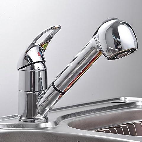 kitth estraibile cucina rubinetto per lavabo con argento lucido cromato monocomando girevole (American Standard Lavatory Sink)