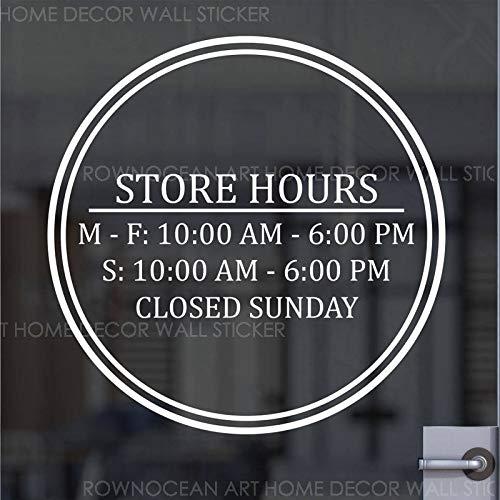 zqyjhkou Benutzerdefinierte Business Open Hour Zeichen Runde Kreis Design Vinyl Aufkleber Für Büro Shop Salon Restaurant Studio Öffnungszeiten Aufkleber Sl39 57x57 cm