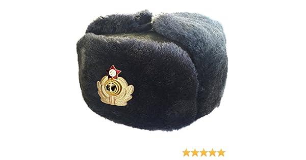 CUCUBA/® Chapeau Original Russia Gris Ushanka Marine Russe Trapper Bonnet avec Badge ID/ÉE Cadeaux