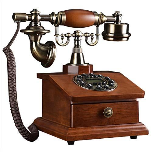 ZXPzZ Europäische Retro Taste Telefon/Mode Kreative Antike Massivholz Tischtelefon/Home Wireless Festnetz/Büro Telefon - Basis Mit Aufbewahrungsbox-Deluxe Edition - Wireless-telefon-basis