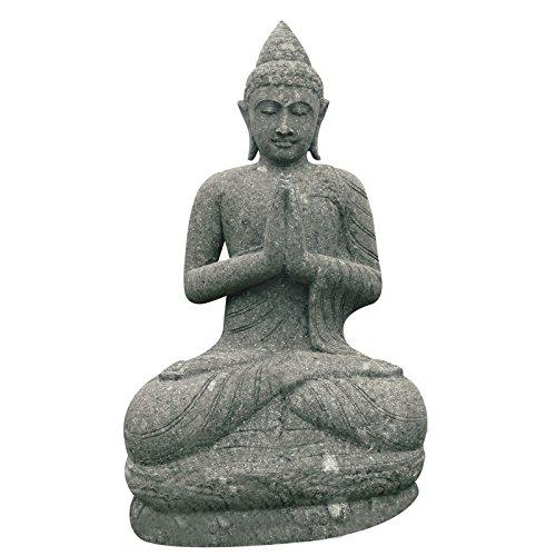 Sitzende Buddha Gartenfigur betend 120cm Steinfigur Basanit Skulptur Statue