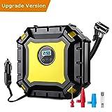 Luftkompressor, JESSHINY Digitaler Kompressor Luftpumpe 12V 10A Schnell Air Inflator 100PSI mit Taschenlampe für PKW, LKW, Fahrrad und Basketball
