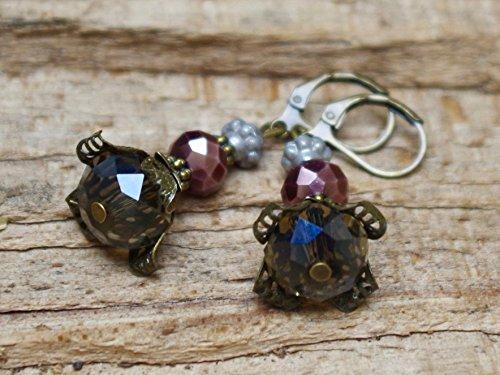 Vintage Ohrringe mit Glasperlen - grau, braun & bronze - 5