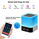 Amouhom Night Light with Bluetooth Speaker, Touch Control Bedside Lamp with MP3 Player, Portable Smart LED Colour Changing Table Light, Gifts for Women&Men&Kids(White)