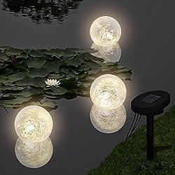 Anself Lámparas Solares Flotantes para Piscina, con LED, 3 unidades