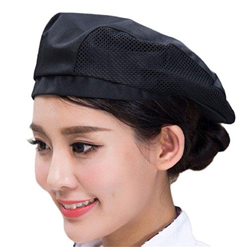 Nanxson Uniforme Cuoco piatto Berretto Baker Cucina Summer Mesh Cucine Uniformi Cuoco Cappello per adulti CF9021 (nero)