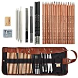 Coolzon Crayons de Dessin, Trousse Kit Dessin avec Sac en Toile Crayons de Charbon de Bois pour Peinture, Dessin Outils pour Professionnels et Débutants