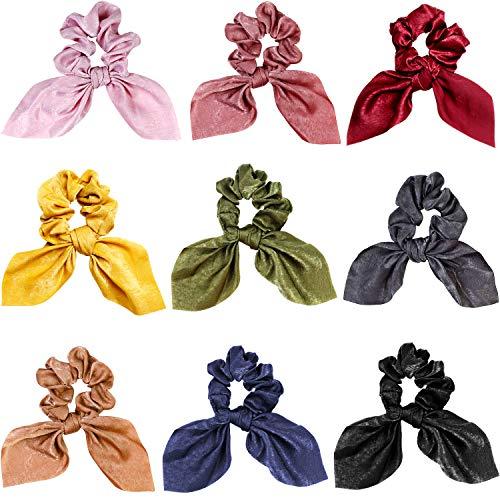 9 Stücke Haargummis Satin Seide Elastisches Haarband Schal Pferdeschwanz Inhaber Haargummi Krawatten Vintage Haarschmuck für Damen Mädchen (Häschenohr Stil)