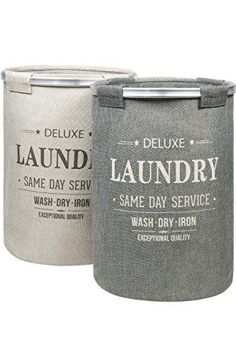 BAMODI Wäschekorb Set spart Zeit beim Sortieren - 2 Wäschesammler je 60 l - Laundry Basket Sortierer (55 x 40 cm)