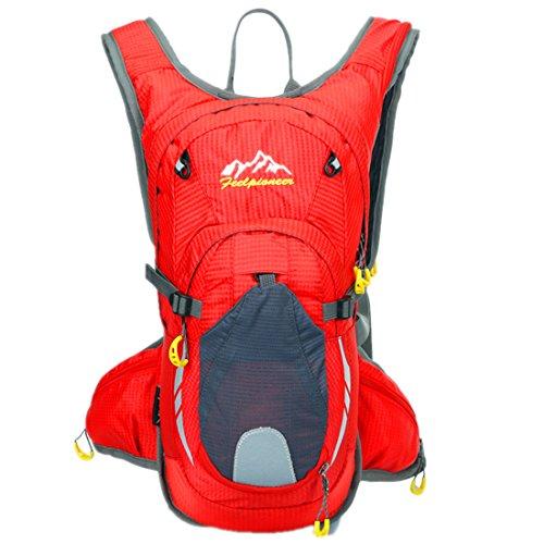 15 L Wasserdichter Radfahren Rucksack Zum Wandern, Joggen, Reisen und Klettern, Camping, Schule Rot
