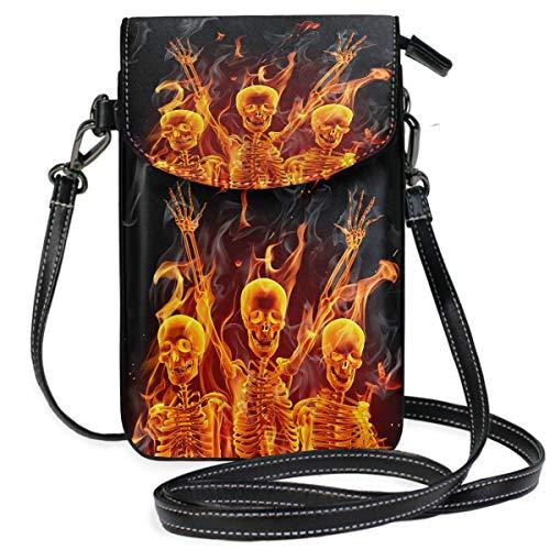 ZZKKO Fire Human Skelett Mini Umhängetasche Handtasche Handtasche Leder für Frauen Casual Reisen Wandern Camping - Human Leder
