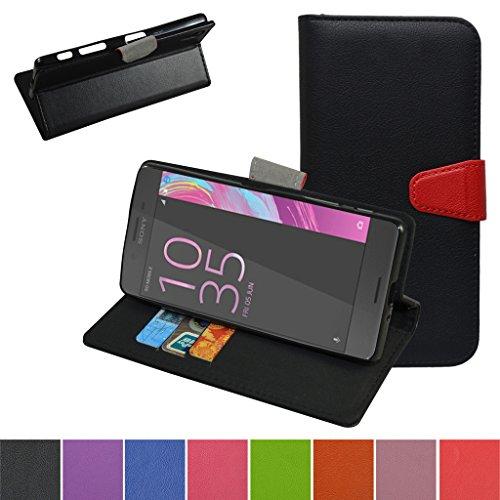 Sony Xperia X Hülle ,Mama Mouth Brieftasche Schutzhülle Case Hülle mit Kartenfächer und Standfunktion für Sony Xperia X Smartphone,Schwarz