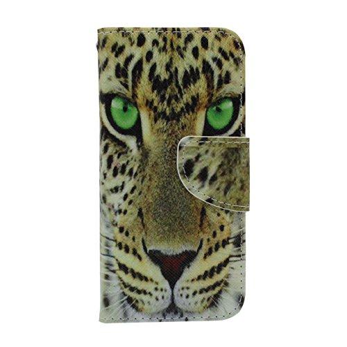 Animal sauvage Motif Style Apple iPhone 6 / 6S 4.7 inch Coque de Protection Case ( Vert ) Rabat Portefeuille Souple PU Carte Titulaire Housse de Protection Anti choc avec 1 stylet jaune