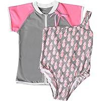 Snapper Rock Pineapple - Ropa de natación con protección solar para niña, color gris, talla 4 años (104 cm)