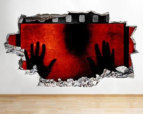 tekkdesigns R008Cinema Scary Horror Cool Film zerstörten Wand Aufkleber 3D Kunst Aufkleber Vinyl Raum
