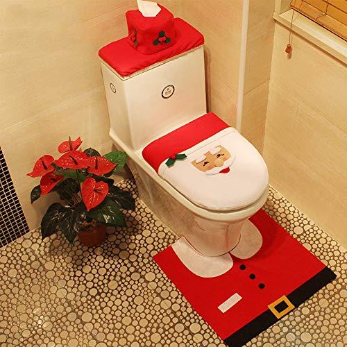 Luoluo 3 pezzi decorazioni di natale babbo sedile wc coperchio cassone dell'acqua copri water e tappeto & scatola del tessuto antiscivolo di copertura insieme