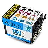 Aoioi 29 XL 4er-Pack Kompatibel Tintenpatronen Ersatz für Epson 29XL 29 Schwarz/Blau/Rot/Gelb, für Epson XP-235 XP-342 XP-332 XP-345 XP-442 XP-445 XP-432 XP-247 XP-335 XP-245 XP-435 XP-330 XP-430 Patronen
