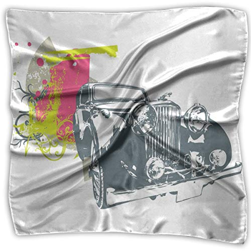 Retro Square Bed (Mixed Designs Silk Square Scarves Bandana Scarf, Pop Art Retro Custom Classic Car With Grunge Effects Illustration,Womens Neck Head Set)